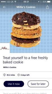Free millies cookie on o2 priority