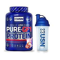 USN Pure Protein GF1 Protein Shake, Strawberry - 2.28 kg with USN Shaker 700ml £26.99@ Amazon