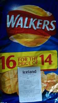 Walkers Cheese and Onion 2 x 16 pack 25g less than 10p a pack £3 Iceland