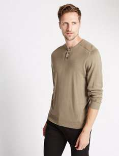 M&S Crew Neck Cotton Blend Jumper, less than half price, now £9.50 (free C&C)