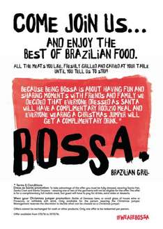 Free meal at Bossa Leeds when you register on PG Promo and wear full Santa outfit, until 31 Dec