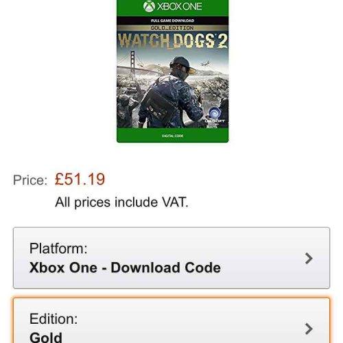 watch dogs 2 - gold edition - amazon - dowload £51.49 @ Amazon (Xbox one)