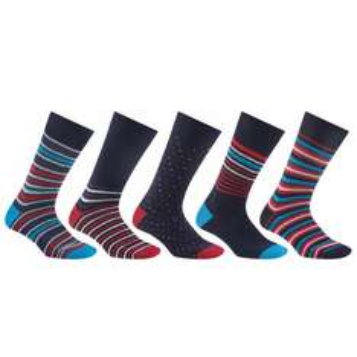 John Lewis Multi Design Socks, Pack of 5, Navy/Multi£6 was £12
