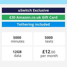 Talk mobile - quidco £47 cashback-12gb data - 5000 mins - unlimited text - 30 amazon voucher - sim only - £144