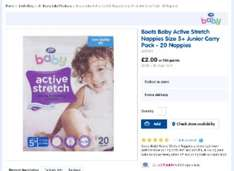 Boots active stretch nappies £2.00 per pack instore