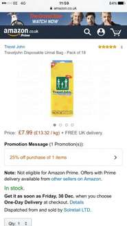 TravelJohn Disposable Urinals 18 Pack - £7.99 - Solrerail LTD on Amazon