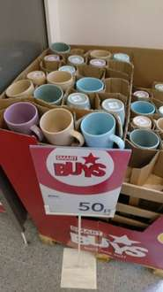 different coloured mugs @ wilko for 50p