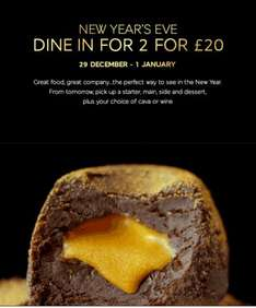 M&S New Year Eve Dine in for 2, £20, starter + main + side + dessert + cava or wine.