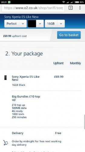Sony Xperia E5 - like New - O2 - £69.99 with £10 credit @ o2