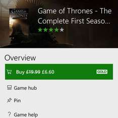 Tell tale - game of thrones - complete season 1 £6.60 - Xbox dashboard