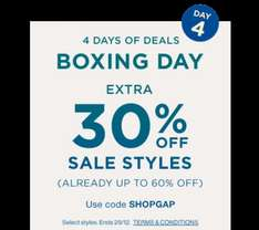 GAP Sale Upto 60% OFF + 30% OFF All Sale Items Using Code SHOPGAP (Online) & Code 323 (Instore) FREE C&C