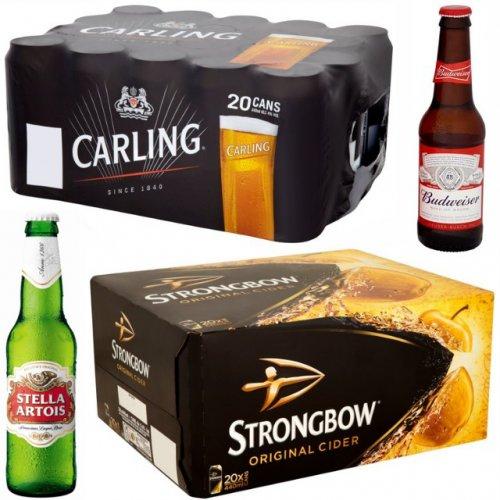 Morrisons - 20 Packs £10 Includes Carling Cans, Budweiser Bottles, Becks Bottles, Stella Artois Bottles, Strongbow Cans        18 Pack Coors Light Cans £10