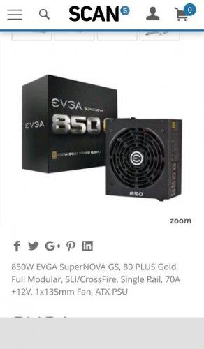 EVGA SuperNOVA GS 850 Watt Modular 80+ GOLD PSU at Scan for £89.99
