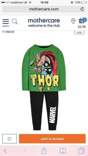 Marvel Thor kids pyjamas at mothercare - £3 (C&C £1.50 per order)