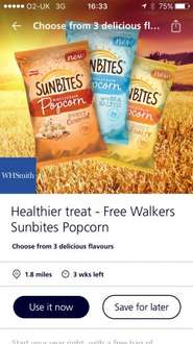 Free sunbites pop corn from o2 via whsmith
