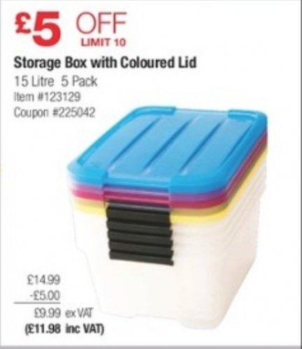 5 X 15L storage box with colour lids £11.98 instore @ Costco