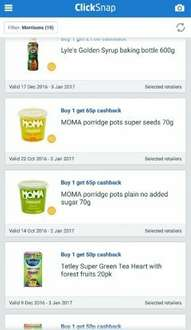 MOMA Porridge pots 70p (possibly only 5p each with 65p cashback via clicksnap (basically quidco))