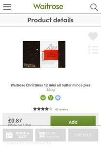 Waitrose 12 mini all butter mince pies massively reduced instore 20p