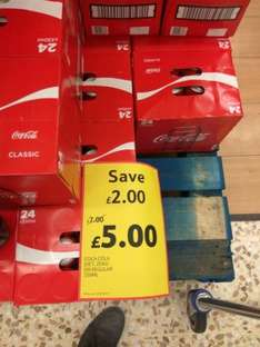 coke  diet, zero or regular 330ml x 24 cans -£5 @ tesco