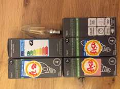 4W LED filament  candle small screw bulb, A+ Energy rating, 350 Lumens. Was £6 now only £1.50 from Next