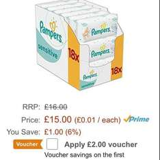 £12.25 for a box (18 packs) of pampers wipes (S&S)