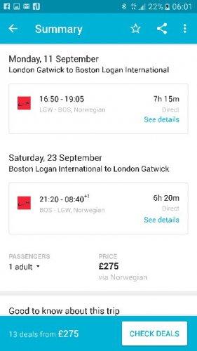 Boston USA direct return flight - norwegian air