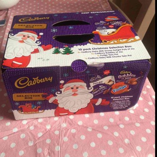 Cadbury 10 pack Christmas Selection box - desserts. Heron Foods instore 85p