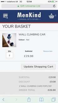 GLITCH- wall climbing cars £14.99 each or 2 for £20 @ MENKIND