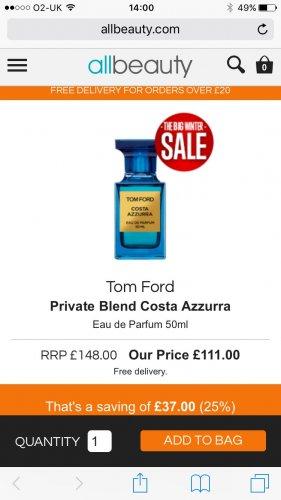 Tom Ford Private Blend Costa Azzurra Eau de Parfum 50ml at All Beauty for £111