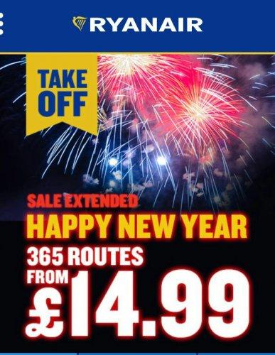 Ryanair New Year sale. Flights from £14.99