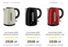 Russell Hobbs Westminster kettle 3 colours was £49.99 now £19.99 & matching 4 slice toasters in 3 colours was £49.99 now £22.49 @ Argos
