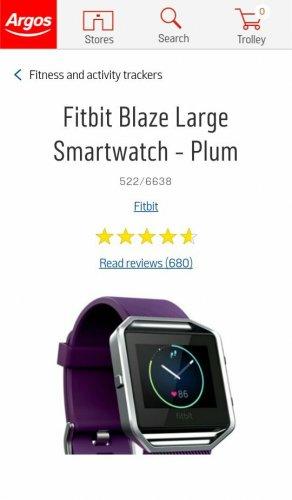 Fitbit Blaze Large Smartwatch £129.99 - Plum at Argos.co.uk