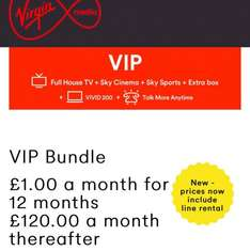 VIRGIN MEDIA VIP BUNDLE FOR £1