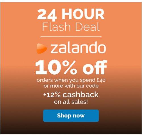 10% off with min. spend £40 using code + 12% cashback @ Zalando via Quidco