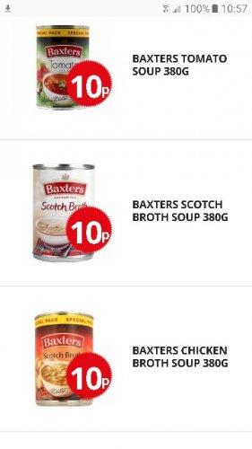 Baxters (Tomato/Chicken Broth/Scotch Broth) 380g - 10p @ poundstretchers
