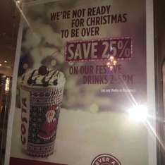 25% off Costa festive drinks 2pm-5pm