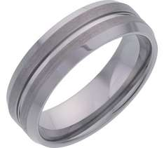 Men's Tungsten 7mm Matt and Polished Grooved Band Ring £8.99 @ Argos