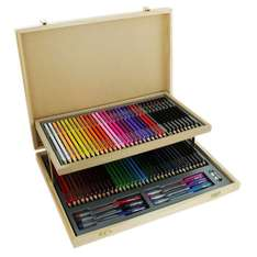 Wooden Stationery Set With Case (75 Pieces) - now £7.50 with code + possible 13.2% cashback @ TheWorks (Free C&C)