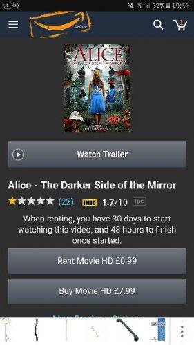 rent film Alice- the dark side of the mirror 99p @ Amazon