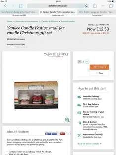 Yankee Candle Xmas set containing 3 small candles (rrp £8.99 each) reduced from £25 to £12.50 at Debenhams Online (Free C&C)