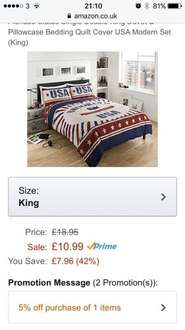 King size Brooklyn USA duvet £9.88 Sold by Ik Trading and Fulfilled by Amazon.