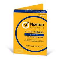 Norton Anti Virus 5 machine  - 1 year subscription at Amazon for £18.99 (Prime or add £3.99)