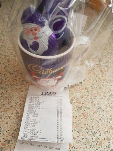 Tesco (instore) Cadbury's Ceramic Mug Set with Santa chocolate bar and 2 hot chocolate sachets 32p