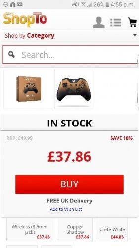xbox one copper shadow controller £37 @ Shopto