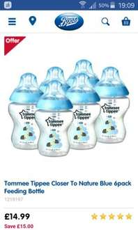 Tommee tippee 6 bottles £14.99 @ Boots