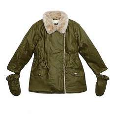 bluezoo Girls' khaki waxed parka coat and removable mittens set @ Debenhams - £10.20 to £10.80 (70% off)