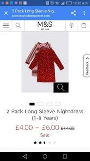 2 Pack Long Sleeve Nightdress (1-8 Years) from £4 @ M&S