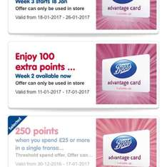 lots of extra Boots points, running from 30/12/16 -14/02/17 when spending £25 and 100 extra bonus points (no minimum spend) running weekly til 26/01/17