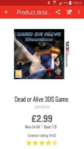 Dead Or Alive 3ds £2.99 @ Argos