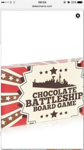 Chocolate Battleship game £3.20 Debenhams